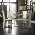 Caley Chrome/ White LED Round 5-piece Dining Set