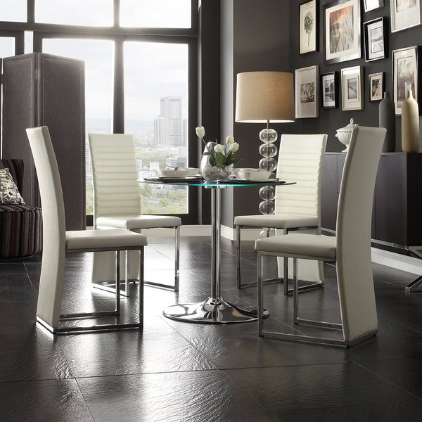 Caley Chrome White LED Round 5 Piece Dining Set Furniture Chairs Table