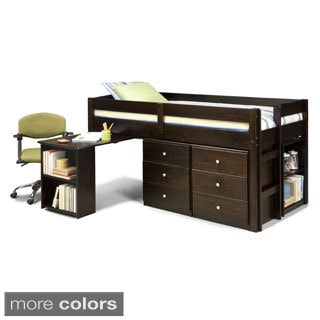 Napoli Low Loft Twin Bed with 6-drawer Storage/ Bookshelves/ Desk
