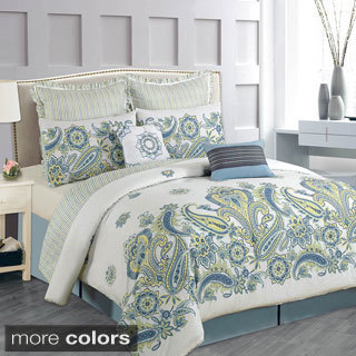 Lacozee 100-percent Cotton Paisley Bloom 8-piece Comforter Set