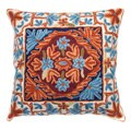 Chain Stitch Embroidery Orange Blue Kashmir Cushion Cover (India)