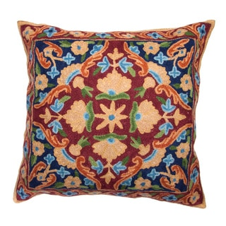 Chain Stitch Embroidery Earth Tone Kashmir Cushion Cover (India)