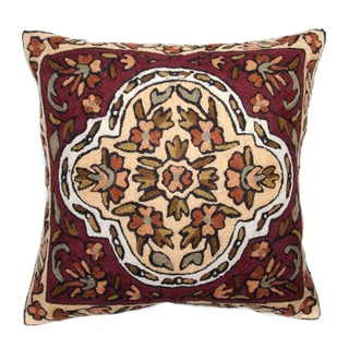 Chain Stitch Embroidery Earth Garden Kashmir Cushion Cover (India)