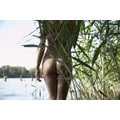 'Semi-Nude Young Woman at Lake' Photography Canvas Print Wall Art