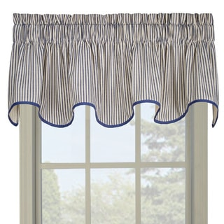 Ticking Blue Stripe Wave Valance