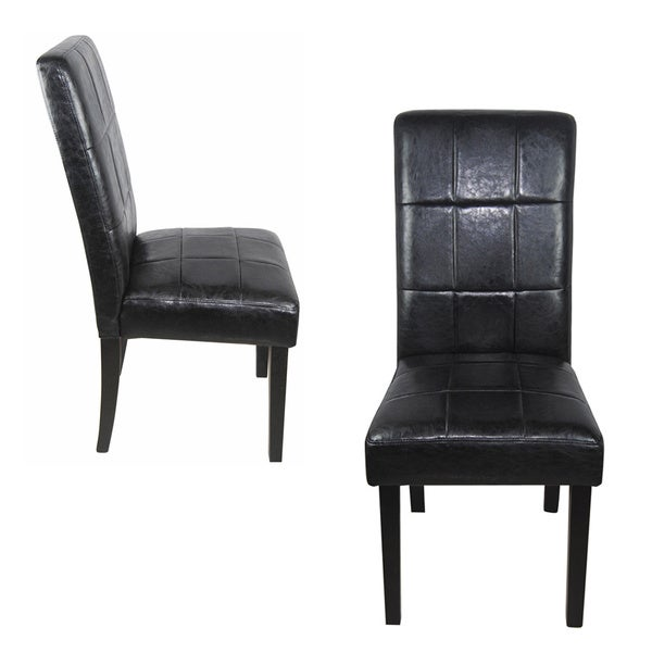 Castillian Classic Black Faux Leather Parson Chairs Set of 2