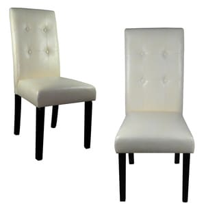 Classic White Faux Leather Tufted Parson Chairs Set of 2
