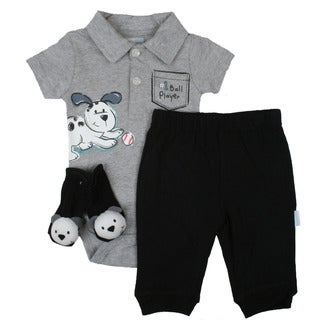 Vitamins Baby Boy Ball Player Coverall Set in Grey