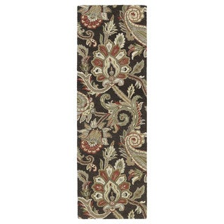 Christopher Kashan Hand-tufted Chocolate Paisley Rug (2'6 x 8')