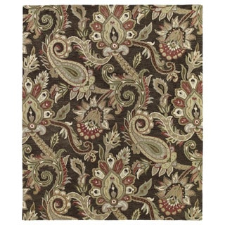 Christopher Kashan Hand-tufted Chocolate Paisley Rug (5' x 7'9)
