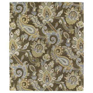 Christopher Kashan Hand-tufted Light Brown Paisley Rug (10' x 14')
