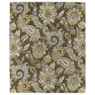 Christopher Kashan Hand-tufted Light Brown Paisley Rug (8' x 10')