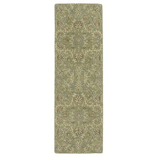 Christopher Kashan Hand-tufted Green Rug (2'6 x 8')