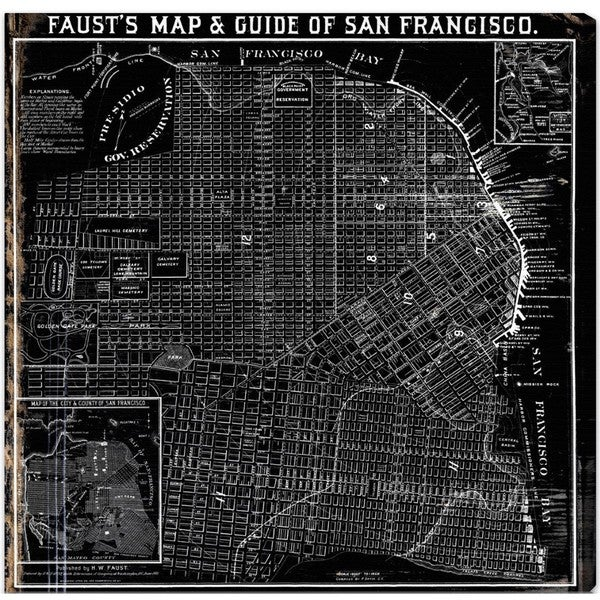 Oliver Gal 'Faust's Map of San Francisco 1884' Canvas Art