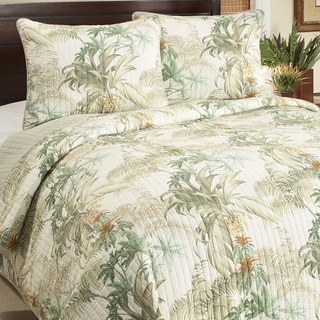 Tommy Bahama Rainforest Tropical Blue Cotton 3-piece Quilt Set