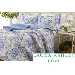 Laura Ashley 3-piece Blue Roseland Floral Cotton Reversible Quilt Set