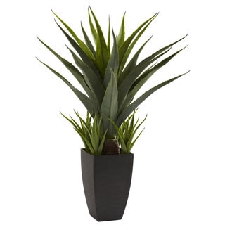 Nearly Natural Agave with Black Planter Decorative Plant