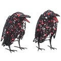 13-inch Lighted Wire Black Ravens (Set of 2)