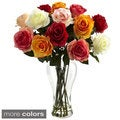 Assorted Blooming Roses/ Vase