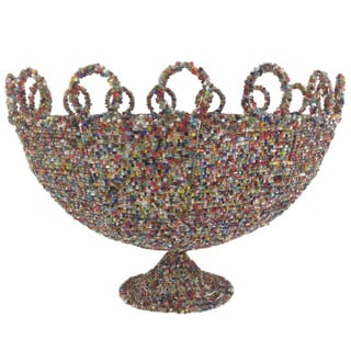 Round Multicolor Beaded Decorative Basket