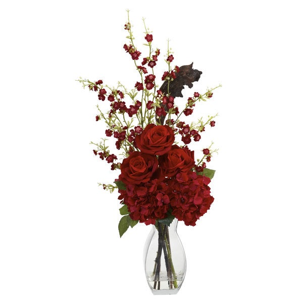 Nearly Natural Hydrangea, Cherry Blossom and Rose Arrangement Decorative Plant