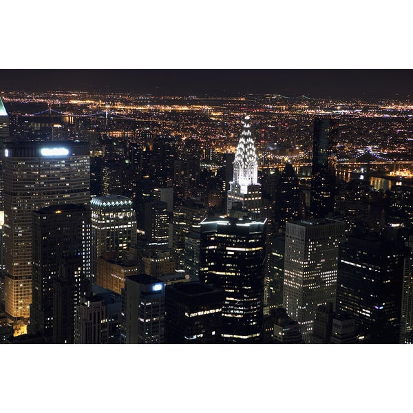 'New York City at night, as seen from the Empire State Building' Photography Canvas Print Wall Art