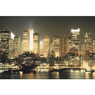 'New York City lit up at night' Photography Canvas Print Wall Art