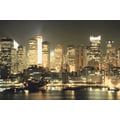 'New York City lit up at night' Photography Canvas Print Wall Art