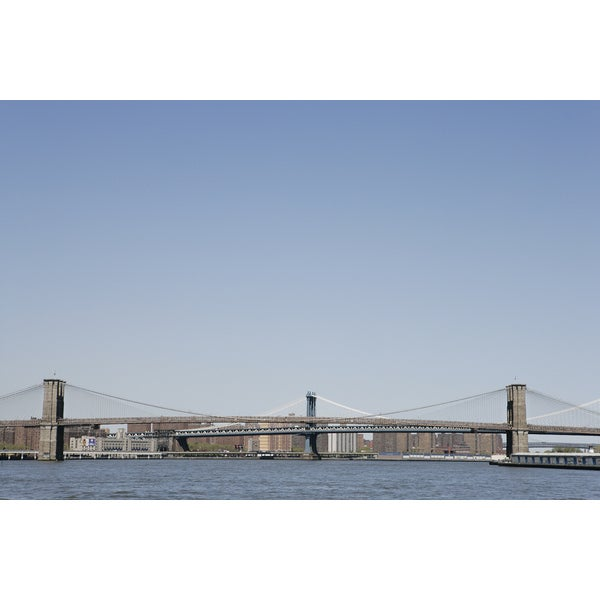 'View of the Brooklyn and Manhattan Bridges' Photography Canvas Print Wall Art