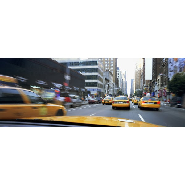 'Taxis on the street in New York City' Photography Canvas Print Wall Art
