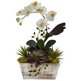 Nearly Natural Orchid and Succulent Garden White Wash Planter Decorative Plant