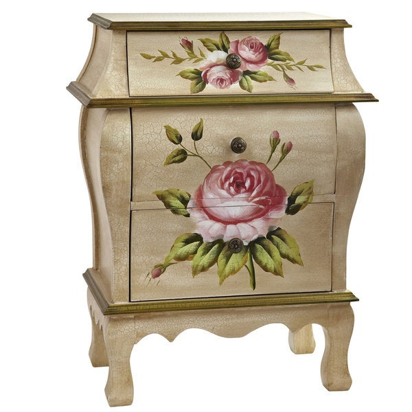 Antique Floral Art Nightstand