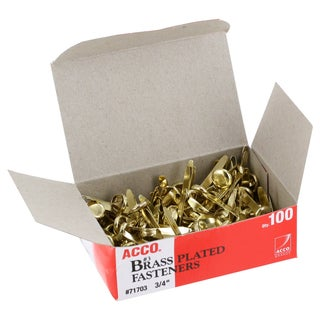 Acco 3/4-inch Brass Plated Fasteners Pack of 100