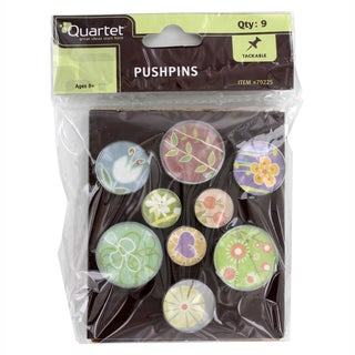 Quartet Assorted Designs Bubble Push Pins Pack of 9