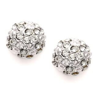 Roman Silvertone Faceted Crystal Fireball Earrings