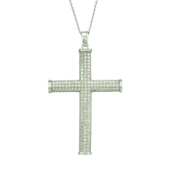 Sterling Silver Cubic Zirconia Pave Cross Necklace