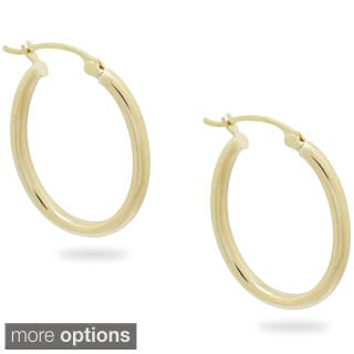 Gioelli 14k Yellow Gold Oval Hoop Earrings