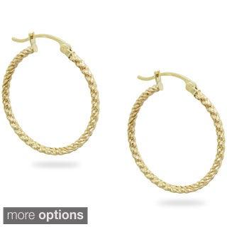 Gioelli 14k Yellow Gold Ridged Hoop Earrings