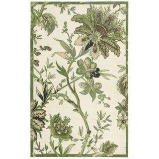 Hand-carved Waverly Artisanal Delight Leaf Green Rug (8' x 10')