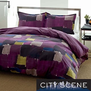 City Scene Color Block Cotton 3-piece Duvet Cover Set