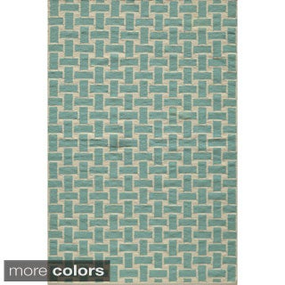 Mersa Bricks Flat Weave Wool Dhurry Rug (5' x 8')