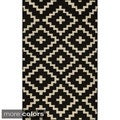 Mersa Diamonds Black Flat Weave Reversible Wool Dhurrie Rug (3'6