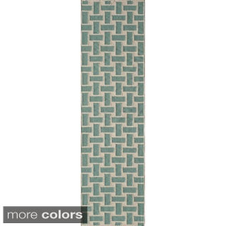 Mersa Bricks Flat Weave Wool Dhurry Rug (2'3 x 8')