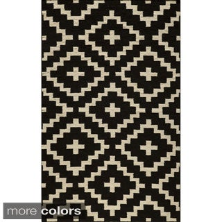 Mersa Diamonds Flat Weave Wool Dhurry Rug (8' x 10')