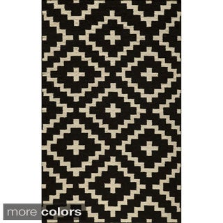 Mersa Diamonds Flat Weave Wool Dhurry Rug (5' x 8')