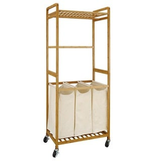 Bamboo 3-Section Laundry Sorter with Hanging Rack
