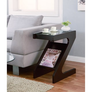 Enzo Modern Black Tinted Tempered Glass Top Chairside-End Table with Magazine Rack