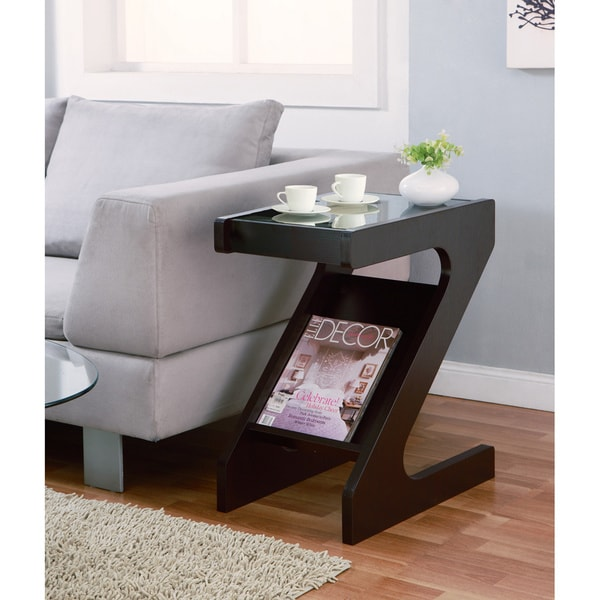 Furniture Of America Enzo Modern Black Tinted Tempered Glass Top Chairside End Table With