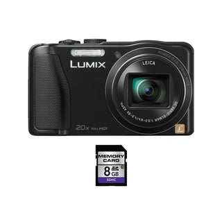 Panasonic Lumix DMC-ZS25 16.1MP Black Digital Camera 8GB Bundle