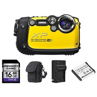 Fujifilm FinePix XP200 Waterproof Yellow Digital Camera 16GB Bundle